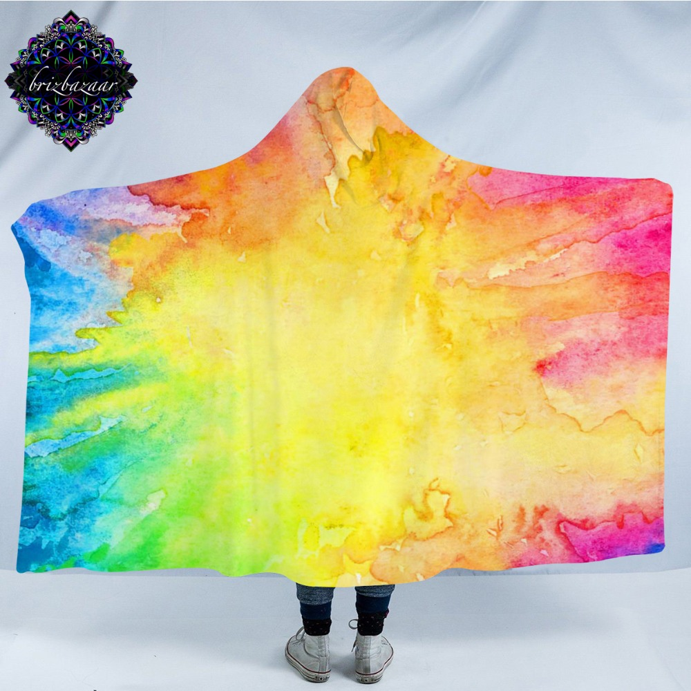Ev ve Bahçe'ten Battaniyeler'de Renkli Vibez tarafından Brizbazaar Kapşonlu Battaniye Sıçrayan Suluboya Sherpa Giyilebilir Battaniye Renkli Resimler Atar 150x200 cm title=