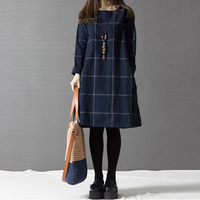 2015 Spring Autumn New Women Vintage Dress Korean Style Loose Large Size Linen Cotton Plaid Dresses