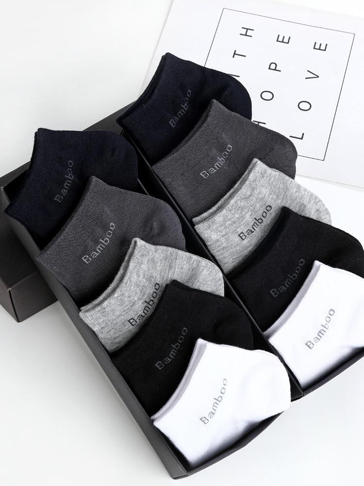 Bamboo-Fiber Socks Short Ankle-Socks Anti-Bacterial 10-Pairs/Pack Men's Man High-Quality