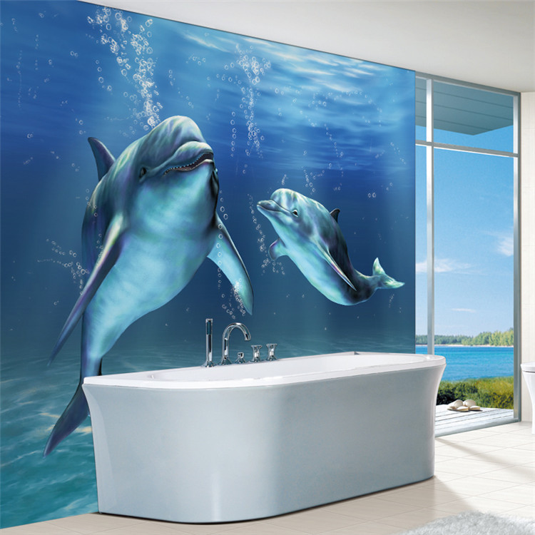 Dolphin bathroom wall decor iron blog for Dolphins paradise wall mural