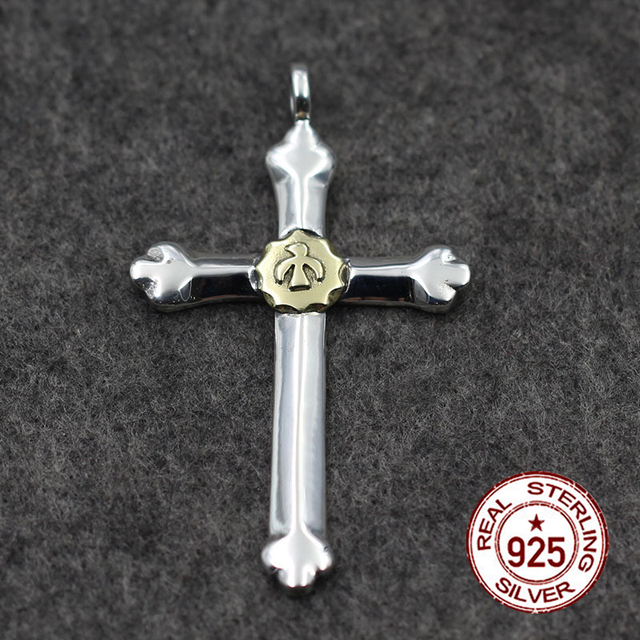 925 sterling silver pendant make old crosses in vintage birds gold 925 sterling silver pendant make old crosses in vintage birds gold lovers necklace gift your lover mozeypictures Images