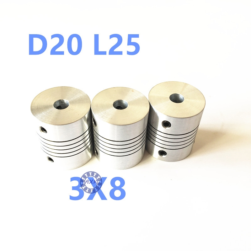 5pcs 3mm x 8mm CNC motor flexible coupling shaft hole 3mm to 8mm stepper motor shaft coupling D20 L25 new flexible aluminum alloys double diaphragm coupling for servo and stepper motor couplings d 44 l 50 d1 and d2 are 8 to 20 mm