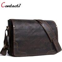 Contact S Brand Genuine Leather Bag Men Shoulder Bags Male Messenger Bag Men Leather Handbags Real