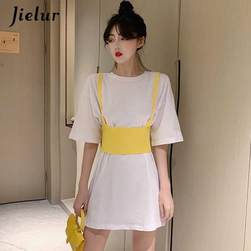 Jielur Длинная женская футболка из двух предметов, повседневные женские рубашки очаровательные милые уличные летние Vetement Femme