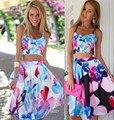 2016 nueva ropa de moda de verano sexy de dos piezas traje de la mujer vestido sin mangas de la flor grande Impresión de la señora Vestido de la playa Mujer Sling vestido