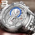 Швейцарские часы  мужские роскошные брендовые кварцевые часы BINGER  полностью из нержавеющей стали  с секундомером  Diver glowwatch B6013