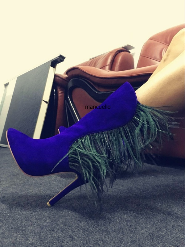 Glamorous Purple Suede Matched Green Feather Short Boots Fancy Women Stiletto Heels Pointed Toe Ankle Boots Fashion Plumage Shoe