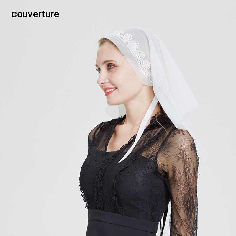 White Latin Mass Veil Lace Triangle Prayer Veil For Chapel Headcovering Christian Catholic Mantilla For Church Scarf Shawl