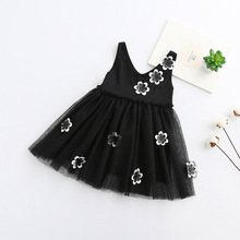 2017 Girls Blacek flower dresses , girls party dress ,dress girls , 5pcs/lot  JYF011