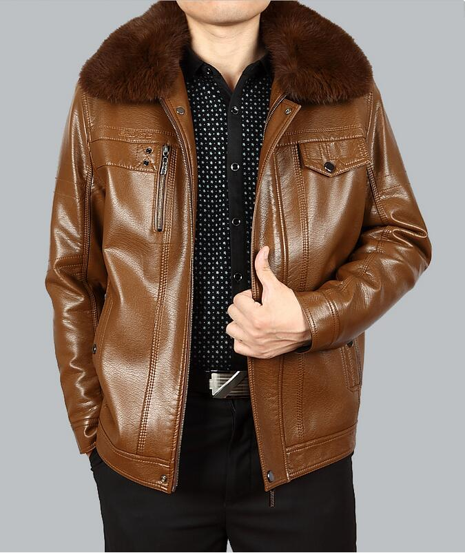 Men Leather Jacket Thicken Coat Pu Faux Jacket Short Jacket Suede Coat High Quality Made In China