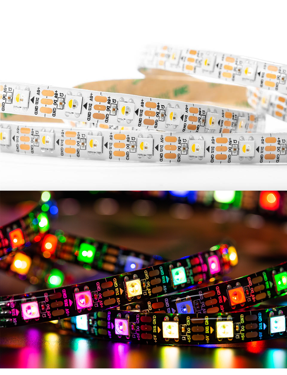SK6812 RGBW (similar ws2812b) 4 in 1 1m/4m/5m 30/60/144 leds/pixels/m individual addressable led strip wwa ww nw IP30/65/67 DC5V