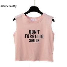 82fd22d6cc7e2 Merry Pretty crop tank top женщины с напечатанными буквами, забавная летние  топы сексуальные без рукавов майка футболка розовый .