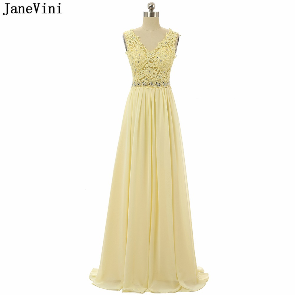 JaneVini 2019 Elegant Yellow Chiffon Plus Size Long   Bridesmaid     Dresses   V Neck Lace Applique Beaded Floor Length Prom Party Gowns