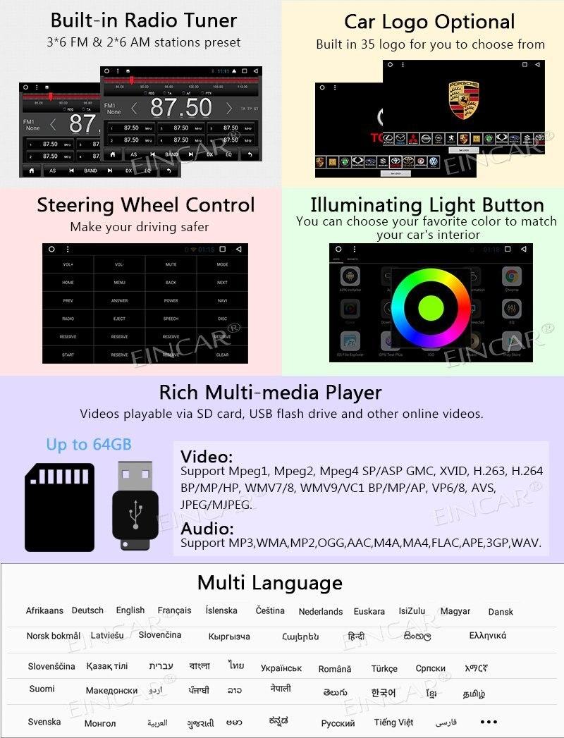 Octa Core Android 7.1 OS Auto autoradio stéréo Double Din unité de tête 7 ''GPS Navigation Bluetooth commande au volant WIFI + 4G - 6