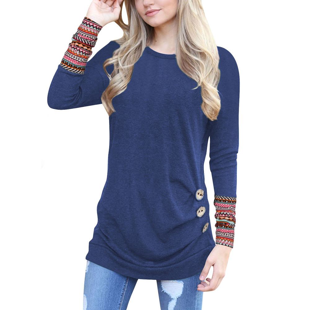 T-Shirts Women Asymmetrical Patchwork Long-Sleeve Casual Tees Tops O-Neck C1435