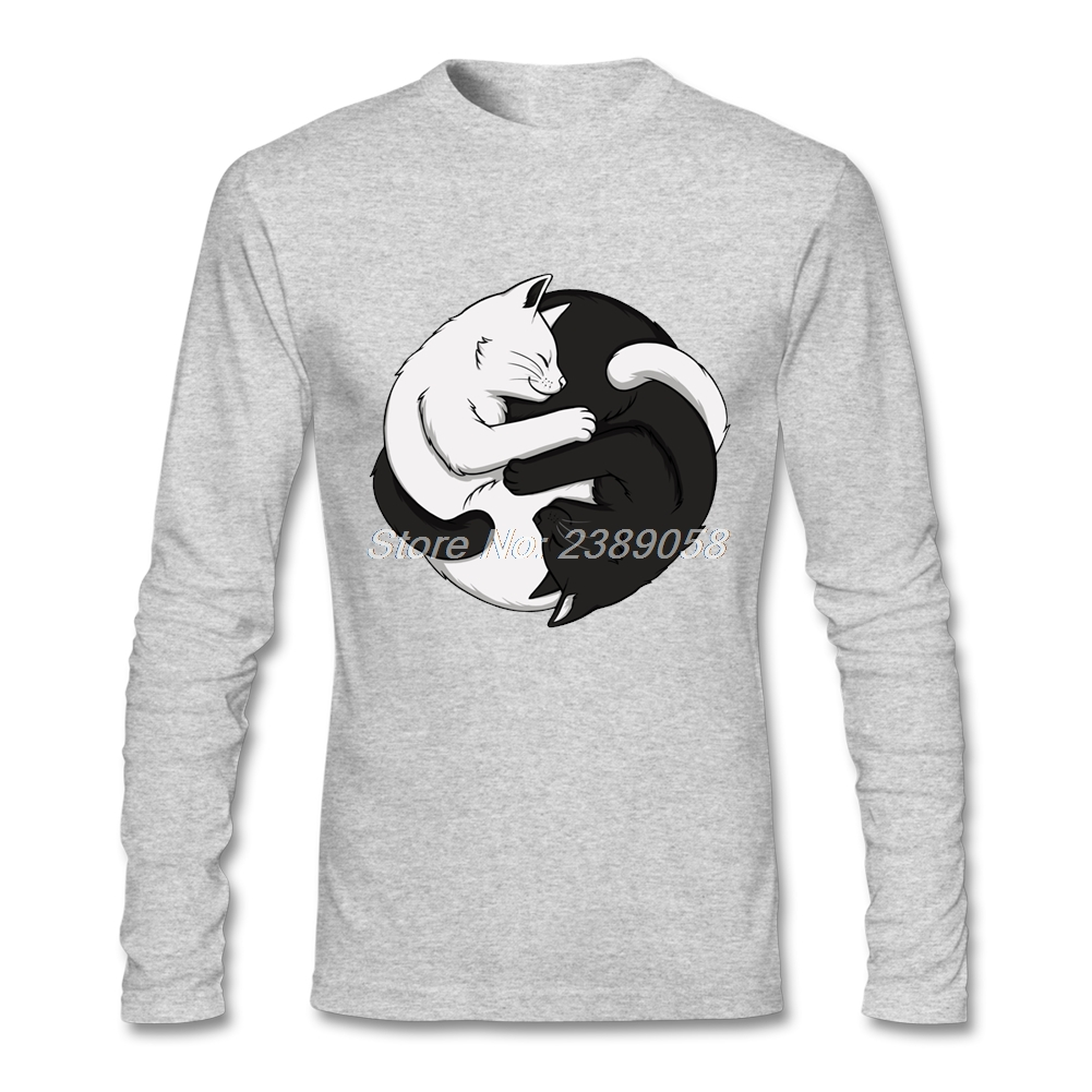 Shirt design unique - T Shirts Mens Yin Yang Cats Design Unique Black And White T Shirts High Quality Long Sleeve Men T Shirt Camisetas