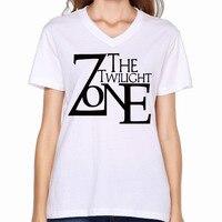 2017 Twilight Zone Logo Printing Women V Neck T Shirt Fashion Unique Design Summer Hip Hop