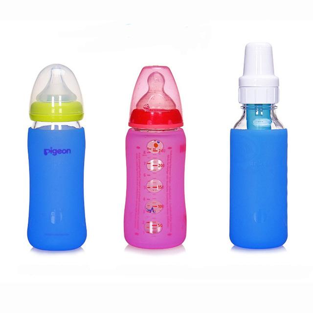 1 pc Garrafa proteger caso Das Crianças Dos Miúdos Do Bebê Copo de Treinamento Palha Lidar com Garrafa de Água Potável 2 Cores Entrega Aleatória