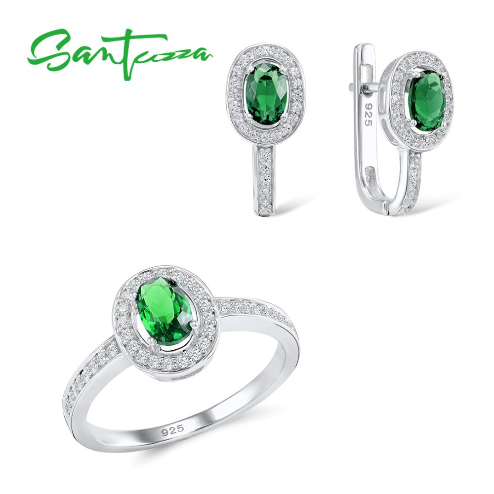 SANTUZZA Jewelry Sets for Women Bridal Oval Green CZ Stones Jewelry Set Earrings Ring 925 Sterling