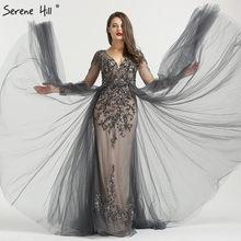 fe584552b27453 Sexy długim rękawem szary kryształ syrenka formalna wieczorne Party suknia  wieczorowa sukienka liban suknie Abendkleider BLA6571