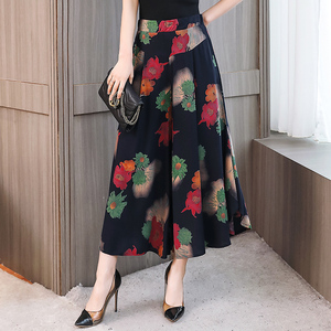 Image 1 - Pantalones de pierna ancha estampados para mujer, falda con cintura elástica, pantalones de pierna ancha holgados, mallas tobilleras de algodón de talla grande 4XL