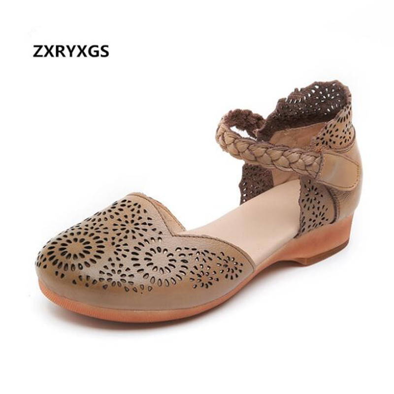 2019 Newest High End Round Head Full Genuine Leather Sandals Women Shoes Fashion Sandals Comfortable Soft
