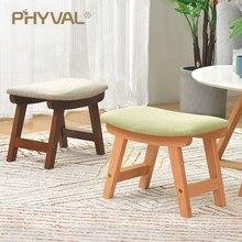 Drewno pufa Nordic stołek prosty otomana do salonu mebelki dziecięce podnóżek z tkaniny