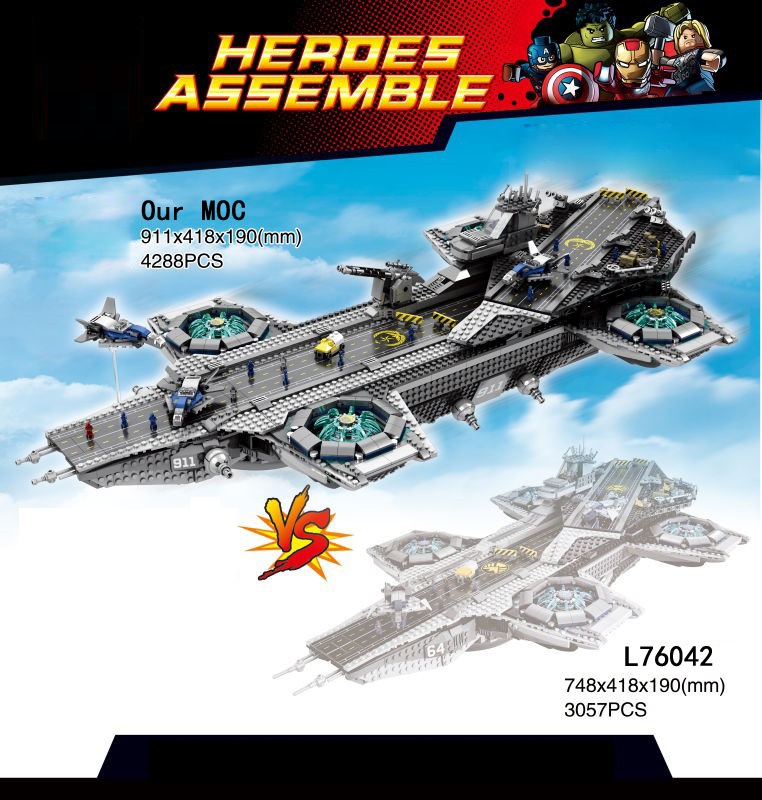 Marvel super heroes avengers The SHIELD stretch Helicarrier moc building block Captain China figures brick 76042 toys collection compatible legoinglys marvel super hero avengers turret moc building blocks mini captain america spider man figures brick toys