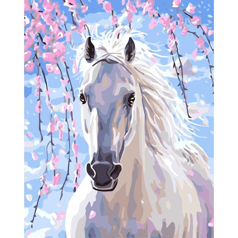 Caballo Blanco y Negro cuadro por números foto digital colorear a ...