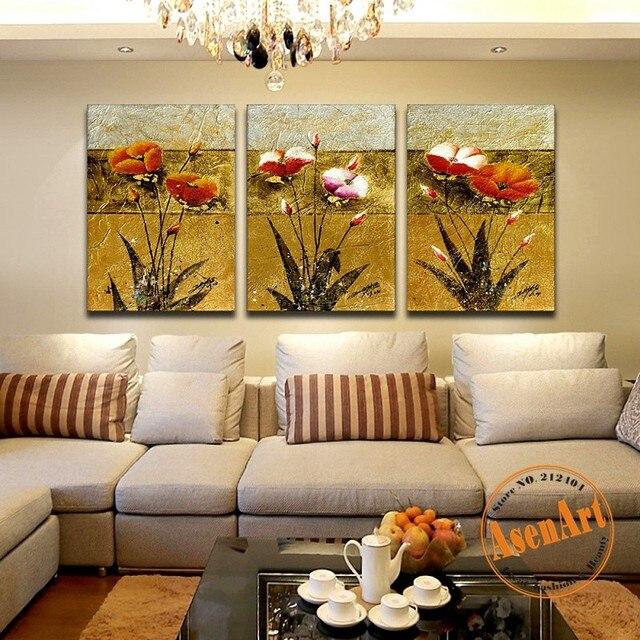 3pcs/set Flower Paintings Handpainted Flower Tree Oil Painting On ...