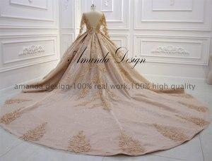 Image 4 - Amanda Ontwerp robe de mariee courte Luxe Lange Mouwen Puffy Baljurk Crystal Glanzende Trouwjurk 2019