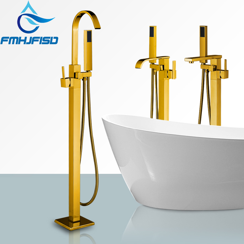 Polished Golden Tub Faucets Bathroom Floor Stand Bathtub Faucet Mixer Water Tap Single Handle Tap w