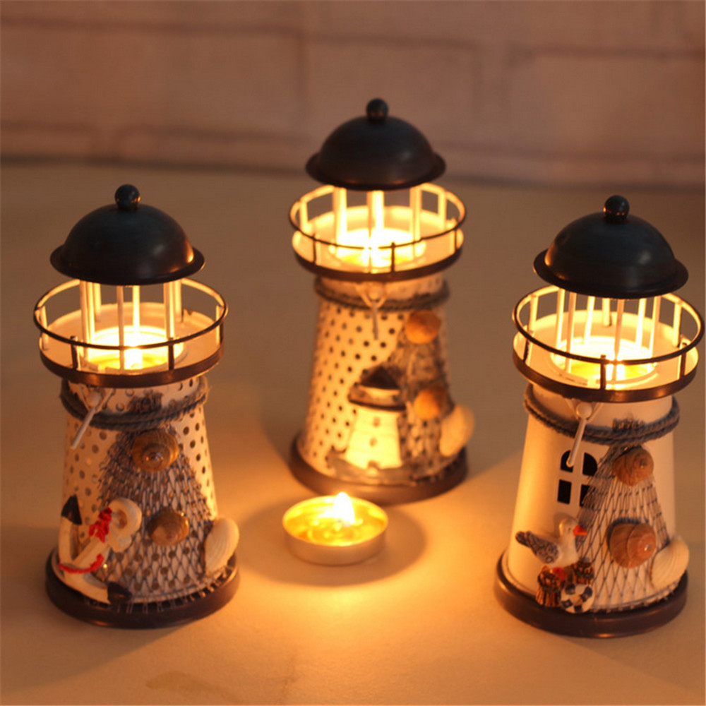 Novelty ornaments - Novelty Nautical Lighthouse Miniature Figurines Ornaments Crafts Decor Candle Holder Christmas Wedding Party Decoration Yw