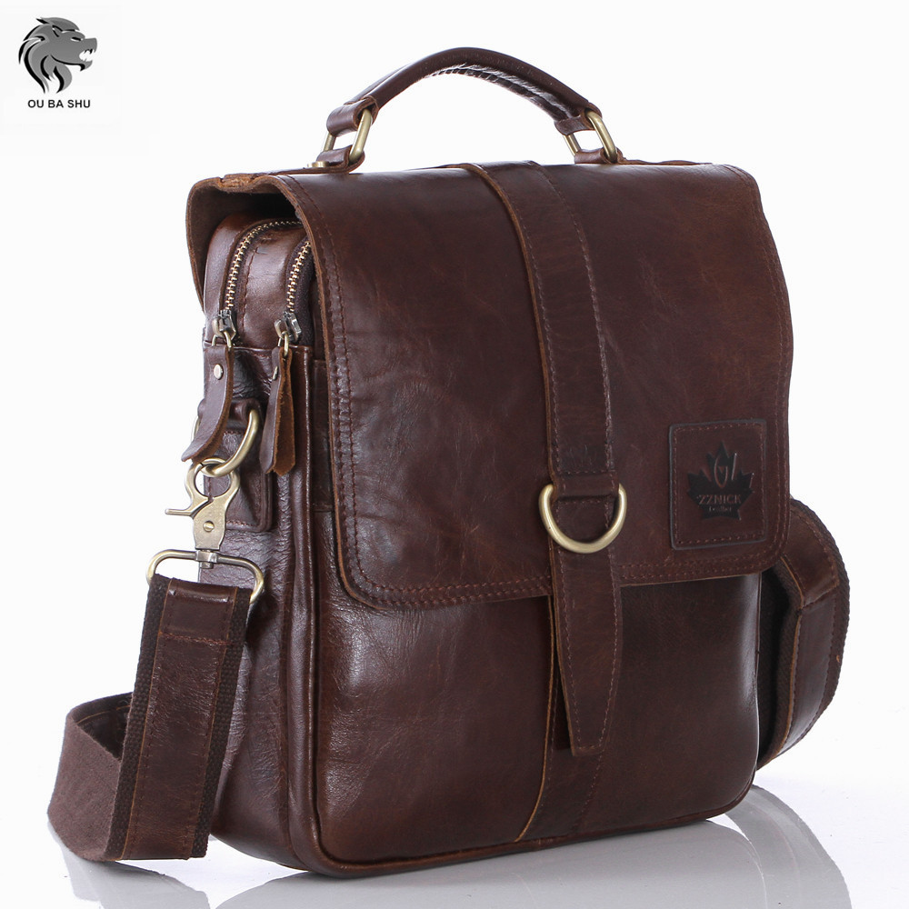 OU BA SHU High Quality Genuine Oil Wax Leather font b Briefcases b font Laptop font