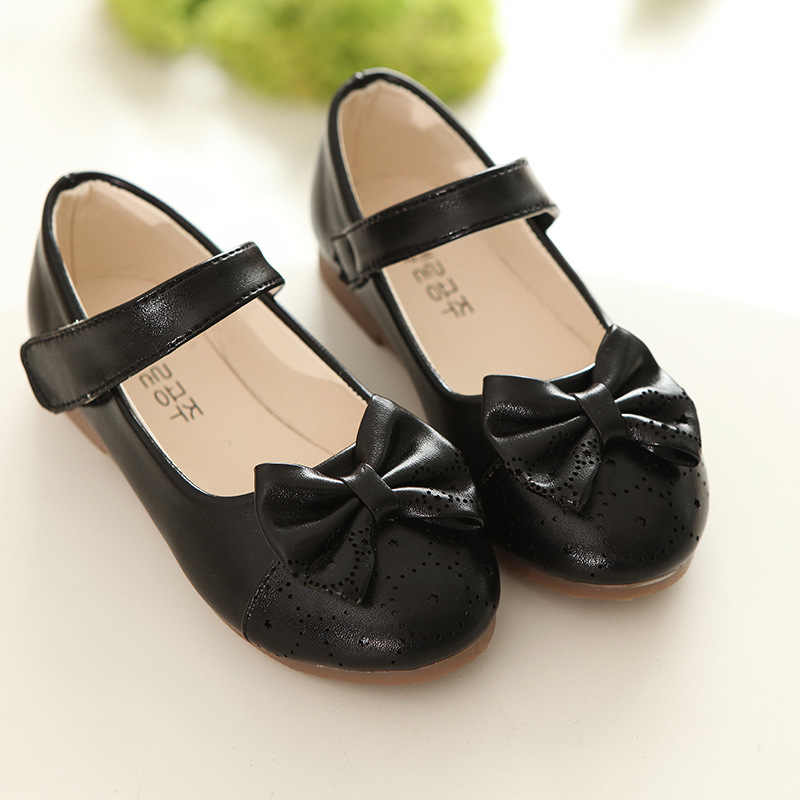 c8d06a80a2b ... Bowknot flower girl shoes leathner dress shoes for girls gold pink  black spring autumn kids princess ...