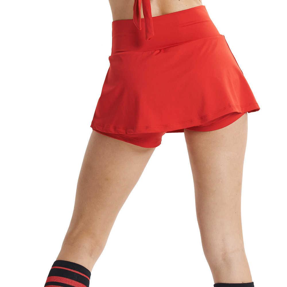 Lefan damska spódnica aerobik tenis Skort Culottes cheerleaderek występy ubrania do tańca Sport krótkie spódniczki dla dziewczynek