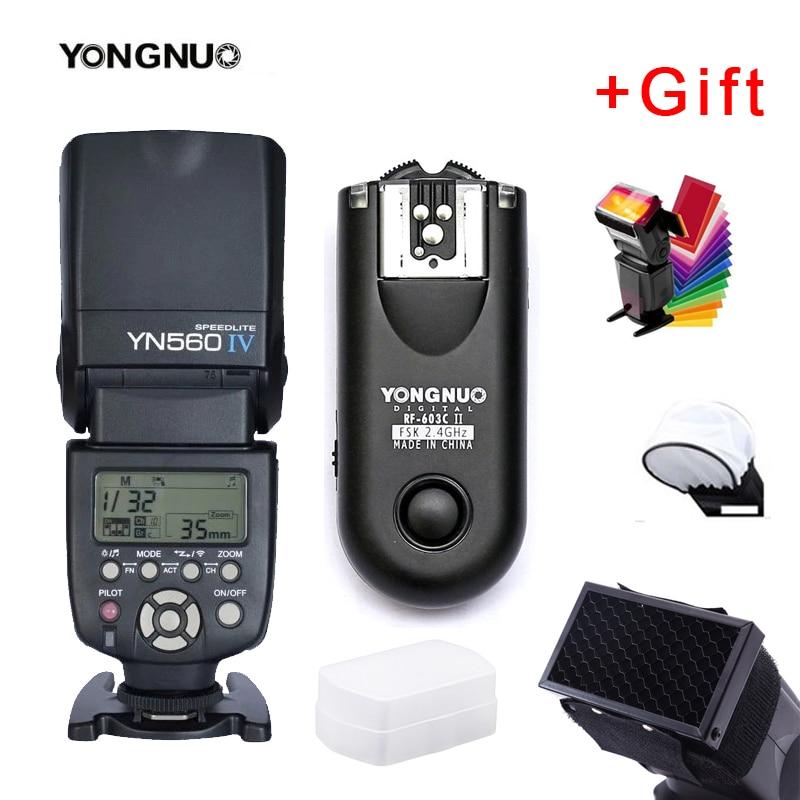 Yongnuo YN560IV YN560 IV YN 560 Flash Speedlite for Canon Nikon Olympus Pentax With YongNuo RF603 II Wireless Flash Trigger