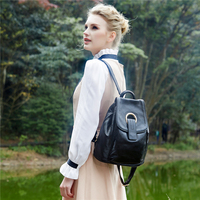 Brand Genuine Leather Backpack Female Rucksack Vintage Ladies Bagpack Simple Travel Bag Casual Women Schoolbags