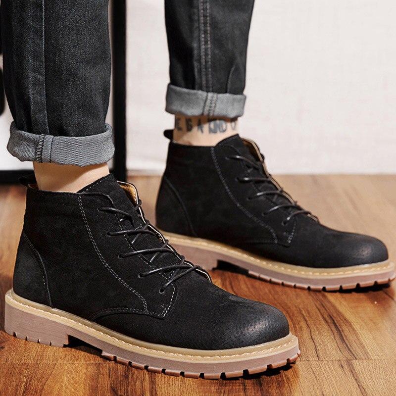 Men Boots Genuine Leather Shoes Wear Resistant Men Ankle