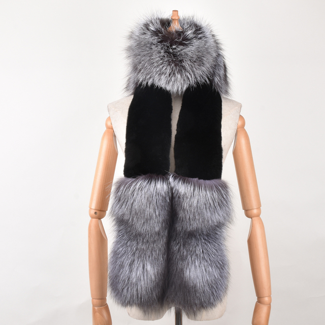 Real Silver fox fur rex rabbit Scarf luxury fur Collar Winter Fashion Women men Soft Red Fox fur long Scarf round Shawl Luxury 1