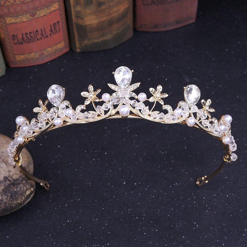 2019 Elegant Crystal Pearl Bridal Crown Woman Tiaras Hair Jewelry Ornaments Hairwear Bride Headbands Wedding Hair Accessories in Hair Jewelry from Jewelry Accessories