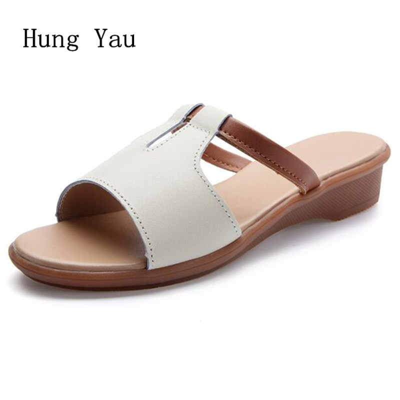 Women Sandals 2018 Summer Genuine Leather Shoes Woman Flip Flops Wedges Fashion Platform Female Slides Ladies Shoes Plus Size 2018 summer style women sandals flips flops shoes woman wedges sandals fashion rivet crystal platform female slides ladies shoes