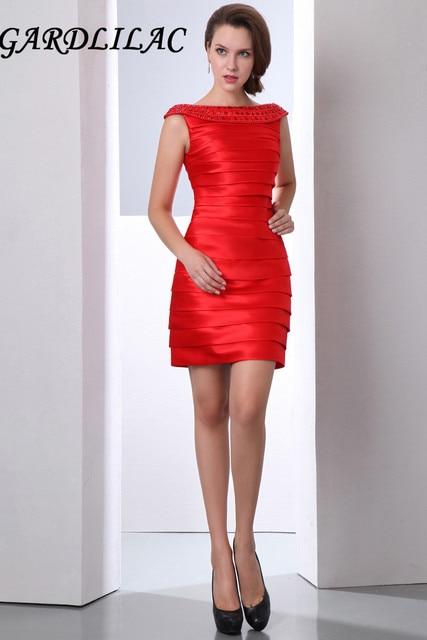 ec23bc431c Robe de Soiree corto de tafetán rojo Vestidos de cóctel Slinky vestido de  fiesta formal con