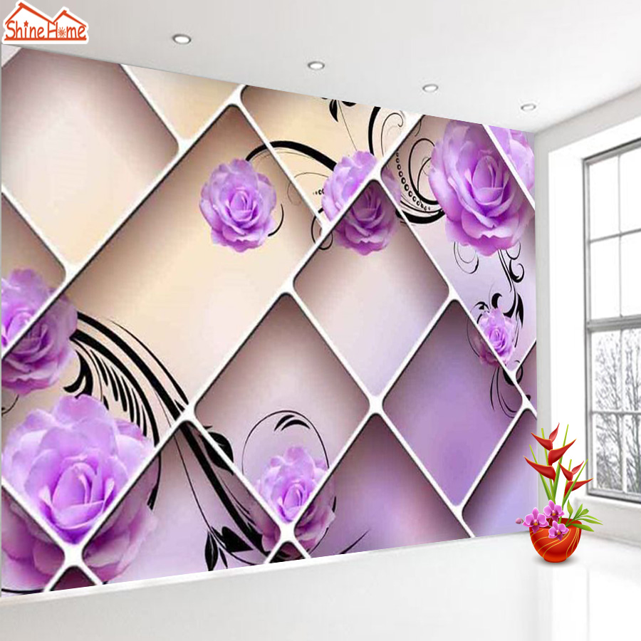 ShineHome-Brick Case Wallpapers Rolls Purple Rose Floral 3d Wallpaper for Walls 3 d Livingroom Wall Mural Roll Paper Home Decor shinehome waterfall wallpaper rolls wallpapers 3d kids room wall paper murals for walls 3 d wallpapers for livingroom mural roll