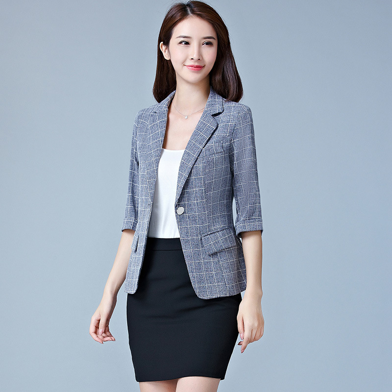 2018 Fashion Short Blazers Women Plaid Three Quarter Business Suits All-match Female Jackets Slim Blazer OL Suit Summer Feminino