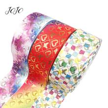 JOJO BOWS 75mm 2y Grosgrain Ribbon Gradient Butterfly Webbing For Sewing Holiday Home Party Decoration DIY Hair Bow Materials недорого