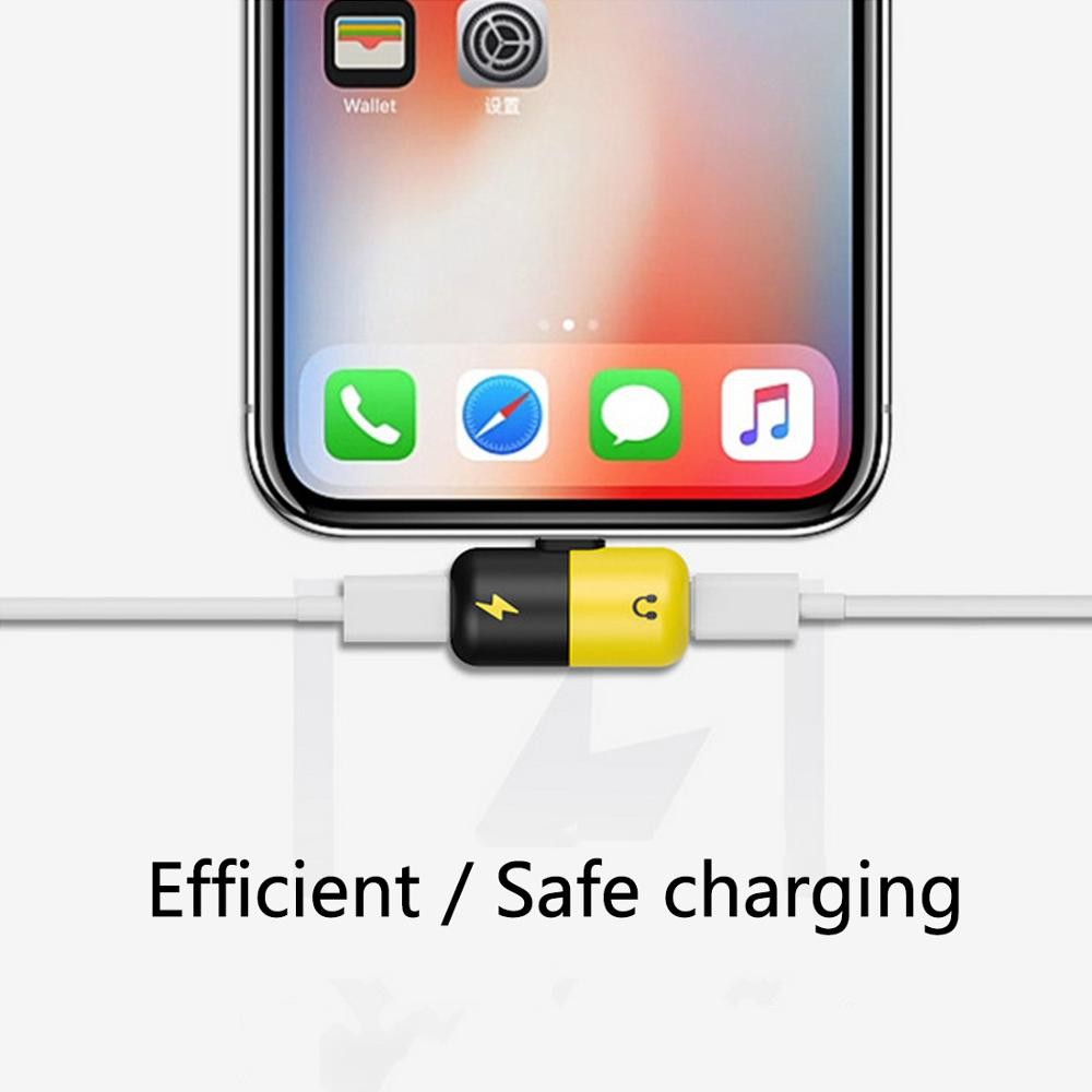2 in 1 Dual USB Charging Audio Adapter For iphone X 7 8 Plus Headphone Music Converter for IOS Audio Charger Splitter Connector in Phone Adapters Converters from Cellphones Telecommunications