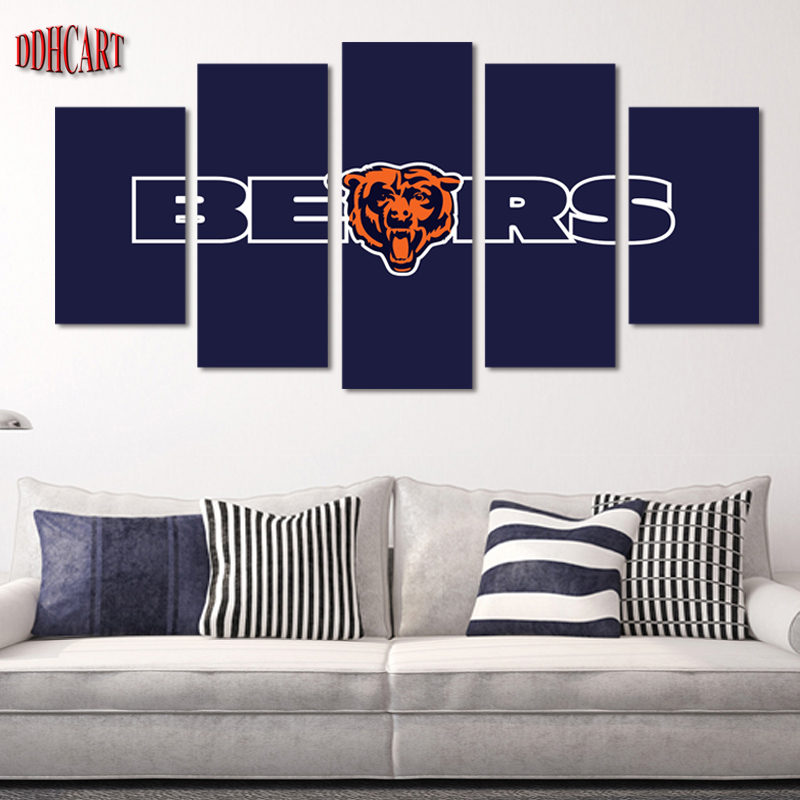 Chicago Bears Home Decor: 5 Piece Chicago Bears Sports Star Picture Wall Art