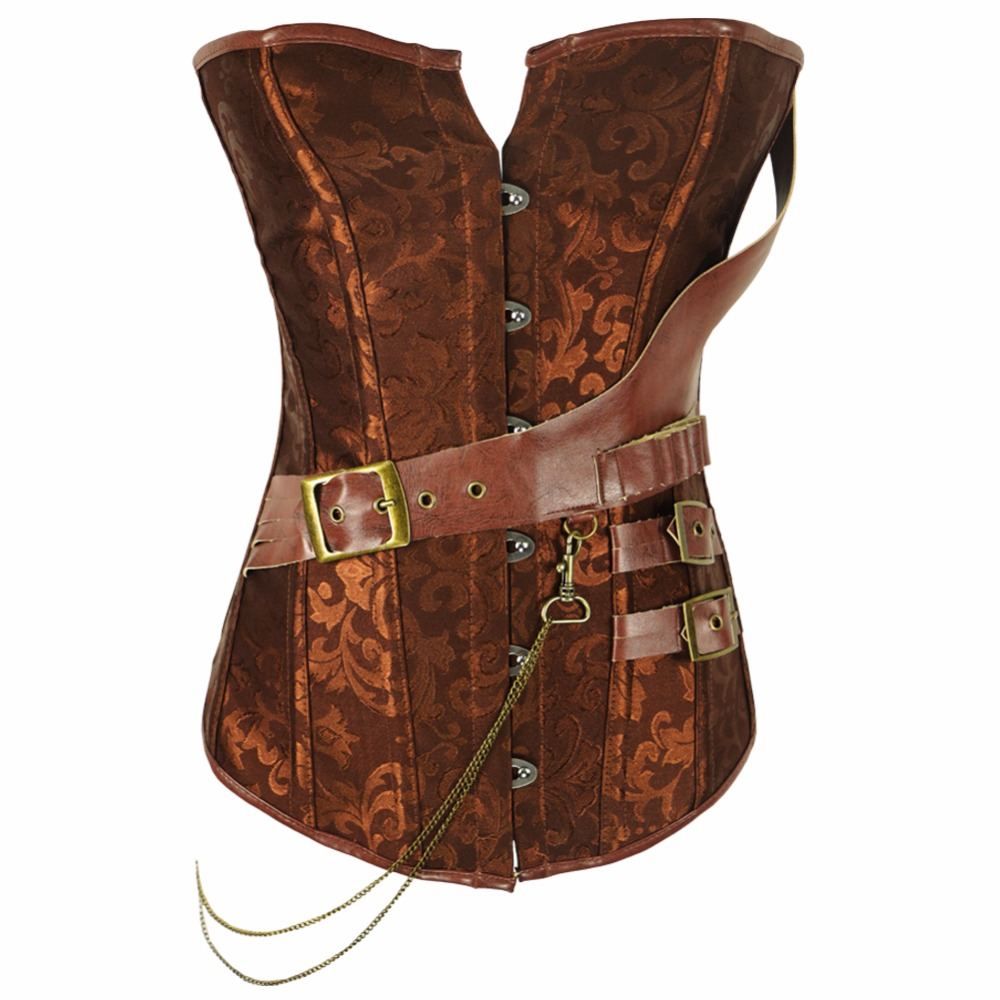 Plus size S-6XL Retro   Bustiers     Corsets   Women Black And Brown Brocade Steampunk   Corset   Top With G-string 907