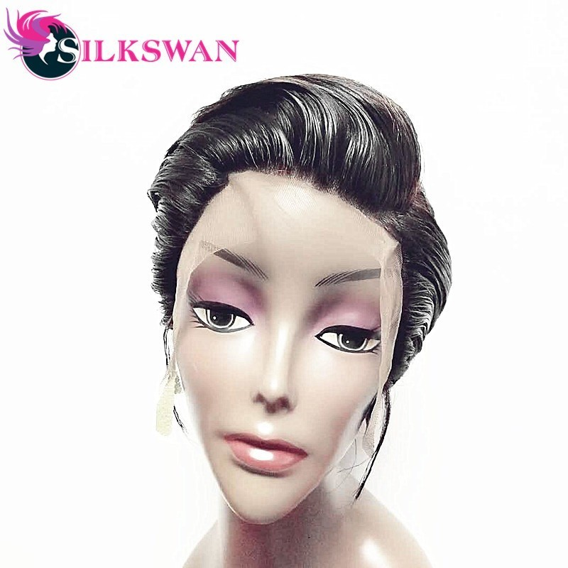 Silkswan Short Pixie Cut Wigs Human Remy Hair Wigs 150 Density 1B color Natural Short Wigs